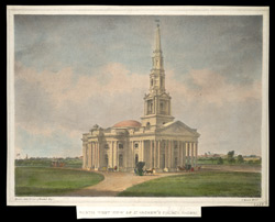 'North West view of St Andrew's Church, Madras'.  Coloured lithograph by J.B.  Maxwell after original watercolour by John Gantz.  Undated, c.1825.